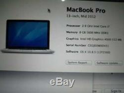 Apple MacBook Pro 13 Core i7 2.9Ghz 8 Go 748.96 Go (2012) A Grade 12 M Garanti