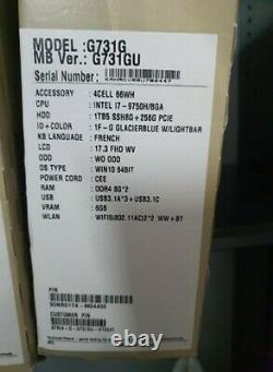 Laptop ASUS G731G Core i7-9750H/BGA, HDD 1Tb5 SSH8G+256G PCIE, DDR4 8Gx2, 17.3 F