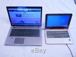 Lot de 2 PC Toshiba I7 3630QM en 17 P et HP Hybride Intel quad core en 11P / SSD